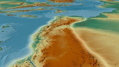 Glide over Atlas mountain range - glowed. Relief map Arkistovideo