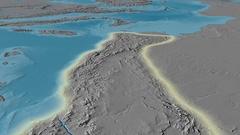 Glide over Atlas mountain range - glowed. Elevation map Arkistovideo