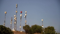 Antennas for wireless communication and data transmission. 4K Video footage Stock Footage
