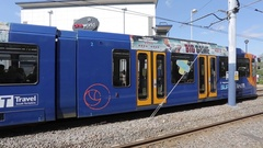 Supertram at Valley Centretainment, Sheffield, South Yorkshire Stock Footage