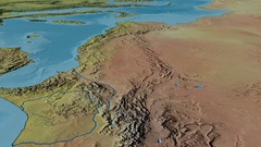 Glide over Atlas mountain range - masks. Topographic map Arkistovideo