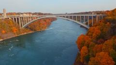 Rainbow Bridge between US and Canada Stock Footage