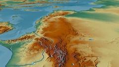Glide over Atlas mountain range - masks. Relief map Arkistovideo