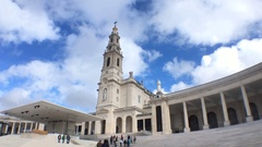 Crowd Visiting Basilica of Our Lady of Fatima, Portugal Stock Footage