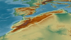 Zoom into Atlas mountain range - glowed. Relief map Stock Footage