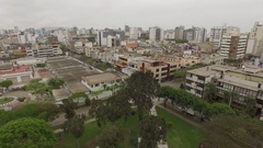 Aerial of LIMA, Peru with the skyline and a park in Miraflores Stock Footage