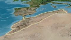 Zoom into Atlas mountain range - glowed. Satellite imagery Stock Footage