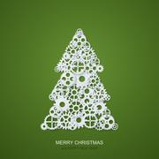 Vector modern concept christmas tree and mechanism gears background. Invitation Stock Illustration