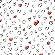 Hand Drawn Hearts Background. Seamless Vector Pattern. Stock Illustration