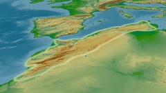 Zoom into Atlas mountain range - glowed. Colored physical map Arkistovideo