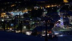 Lapland overview of Kittilä Sirkka Levi city lights at night Stock Footage