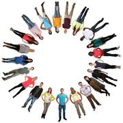 Smiling multicultural multi ethnic happy group of young people in circle Stock Photos