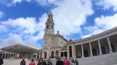 Crowd of People At Basilica of Our Lady of Fatima, Portugal Stock Footage