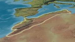 Zoom into Atlas mountain range - glowed. Topographic map Stock Footage