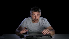 Man disappointed with what he saw on the monitor Stock Footage