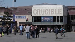 Crucible Theatre in City Centre, Sheffield, South Yorkshire Stock Footage