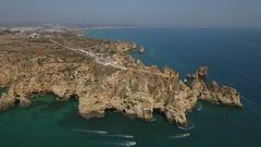 Aerial. Cape Ponta de Piedade, drone filmed from the sky. Stock Footage