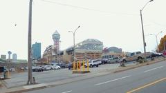 Tourist entertainment district Niagara Falls Canada Stock Footage