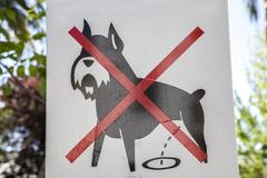 Prohibition dog sign outdoors Stock Photos
