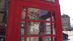 Town Hall Clock Tower and Red Telephone Box in City Centre, Sheffield, South Stock Footage