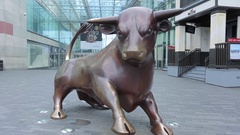 Bronze Bull at the Bullring, Birmingham, West Midlands Stock Footage
