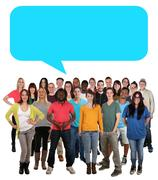 Multi ethnic group of young people talking speech bubble copyspace copy space Stock Photos
