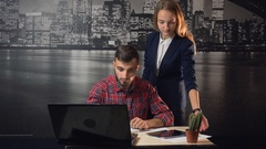Office Teammate Support Stock Footage