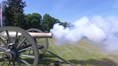 Civil War Cannon being fired Stock Footage