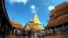 Wat Phra That Doi Suthep Temple, Chiang Mai ,Thailand, Timelapse Stock Footage