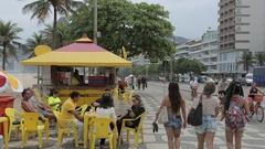 Leblon Beach Snack Hut, Leblon, Rio de Janeiro Stock Footage