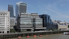 The City, Tower Bridge and Thames from London Bridge, London Stock Footage