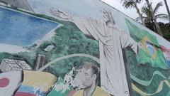 Wall Paintings depicting Rio life, Rio de Janeiro Stock Footage