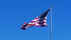 American Flag waving with autumn leaves passing by Stock Footage