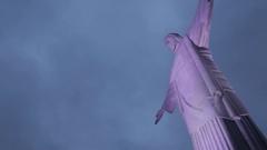 View of Christ the Redeemer Statue, Corcavado of Rio de Janeiro, Rio de Janeiro Stock Footage