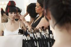 Model Getting Ready Backstage Stock Photos