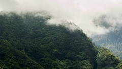 Contour of mountains with moving fog. Time Lapse Stock Footage