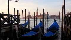 Gondolas bobbing at Molo in Venice, Italy. Stock Footage