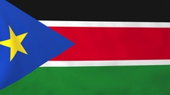 Flag of South Sudan waving in the wind, seemless loop animation Stock Footage