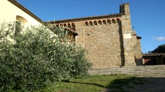 Top hill roman church. Fiesole, Florence. Italy Stock Footage