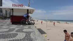 Beach Sport on Leblon Beach, Rio de Janeiro Stock Footage
