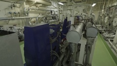 Purifier room of ship Stock Footage