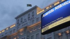Avenue Atlantico Sign on Copacabana, Rio de Janeiro Stock Footage