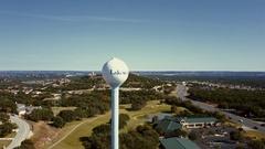 Lakeway, Texas Aerial Water Tower Stock Footage