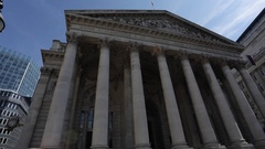 The Bank of England & The Royal Exchange, The City, London Stock Footage