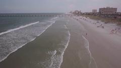 Aerial of Beach in Jacksonville Stock Footage