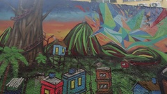 Colorful Painted Walls near Copacabana Beach, Rio de Janeiro Stock Footage