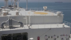 LPG tanker during cargo operations Stock Footage
