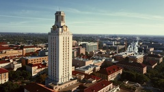 University of Texas Austin Aerial Clock Tower Stock Footage