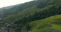 Longsheng Village and Terraced Rice Field Stock Footage