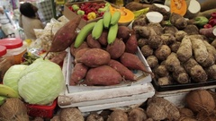 Fruit & Vegetable Stall in Leeds City Kirkgate Market Interior, City Centre, Stock Footage